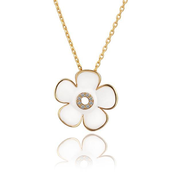 Vienna Jewelry Gold Plated Ivory Floral Center Emblem Necklace