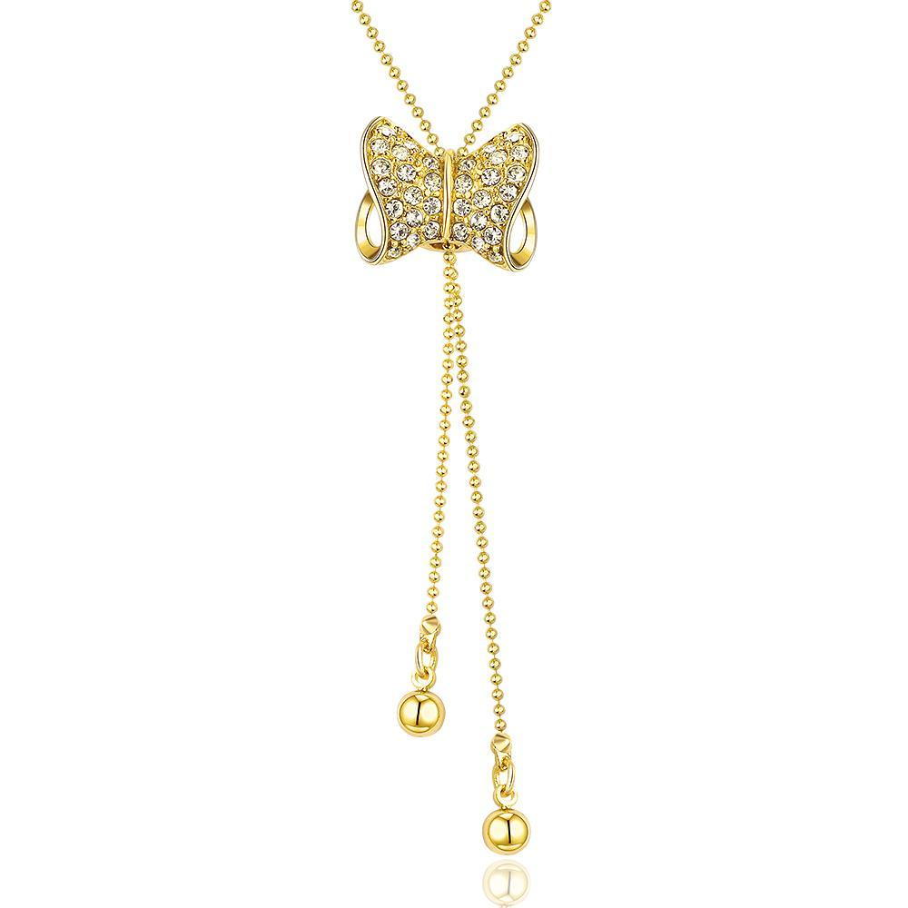 Vienna Jewelry Gold Plated Dangling Bow-Tie Necklace