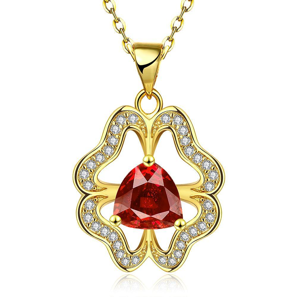 Vienna Jewelry Gold Plated Abstract Ruby Clover Necklace