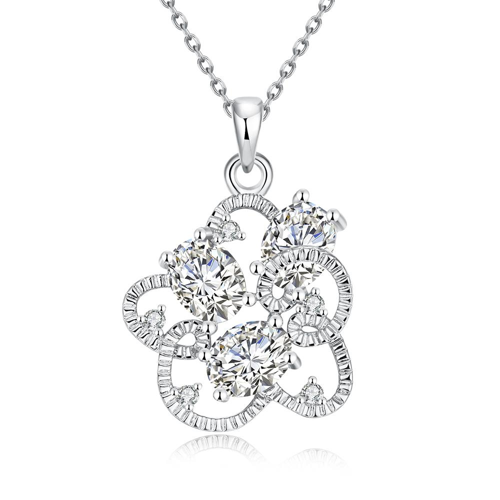 Vienna Jewelry White Gold Plated Intertwined Trio-Crystal Necklace