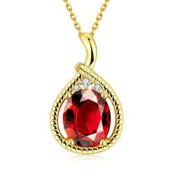 Vienna Jewelry Gold Plated Ruby Gem Drop Necklace - Thumbnail 0