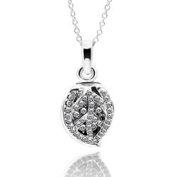 Vienna Jewelry White Gold Plated Crystal Jewels Covering Shield Necklace