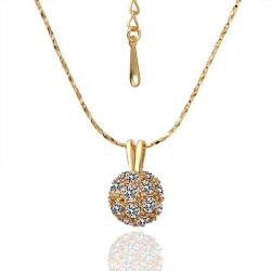 Vienna Jewelry Gold Plated Pav'e Crystal Classic Necklace - Thumbnail 0