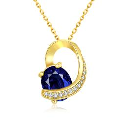 Vienna Jewelry Gold Plated Saphire Insert Necklace - Thumbnail 0