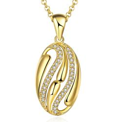 Vienna Jewelry Gold Plated Trio-Lined Emblem Necklace - Thumbnail 0