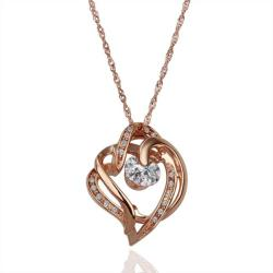 Vienna Jewelry Rose Gold Plated Curved Heart Lining Necklace - Thumbnail 0