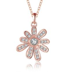 Vienna Jewelry Rose Gold Plated Spiral Snowflake Drop Necklace - Thumbnail 0