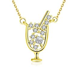 Vienna Jewelry Gold Plated A Glass of Wine Necklace - Thumbnail 0