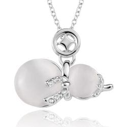 Vienna Jewelry White Gold Plated Duo-Ivory Pearl Necklace - Thumbnail 0