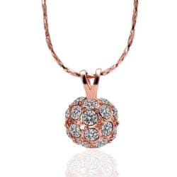 Vienna Jewelry Rose Gold Plated Pav'e Ball Necklace