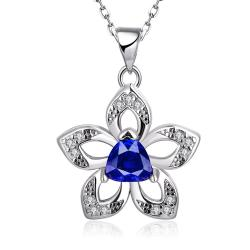 Vienna Jewelry White Gold Plated Petite Sapphire Gem Star Emblem Necklace - Thumbnail 0