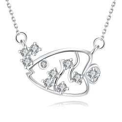 Vienna Jewelry White Gold Plated Swimming Salmon Necklace - Thumbnail 0
