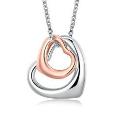 Vienna Jewelry 18K RoseWhite GP interlocking Hearts Necklace - Thumbnail 0