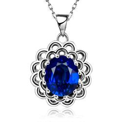 Vienna Jewelry White Gold Plated Sapphire Gem Spiral Laser Cut Necklace - Thumbnail 0