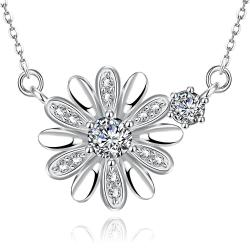 Vienna Jewelry White Gold Plated Snowflake * Pendant Necklace - Thumbnail 0