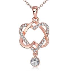 Vienna Jewelry Gold Plated Double Heart with CZ Drop Necklace - Thumbnail 0