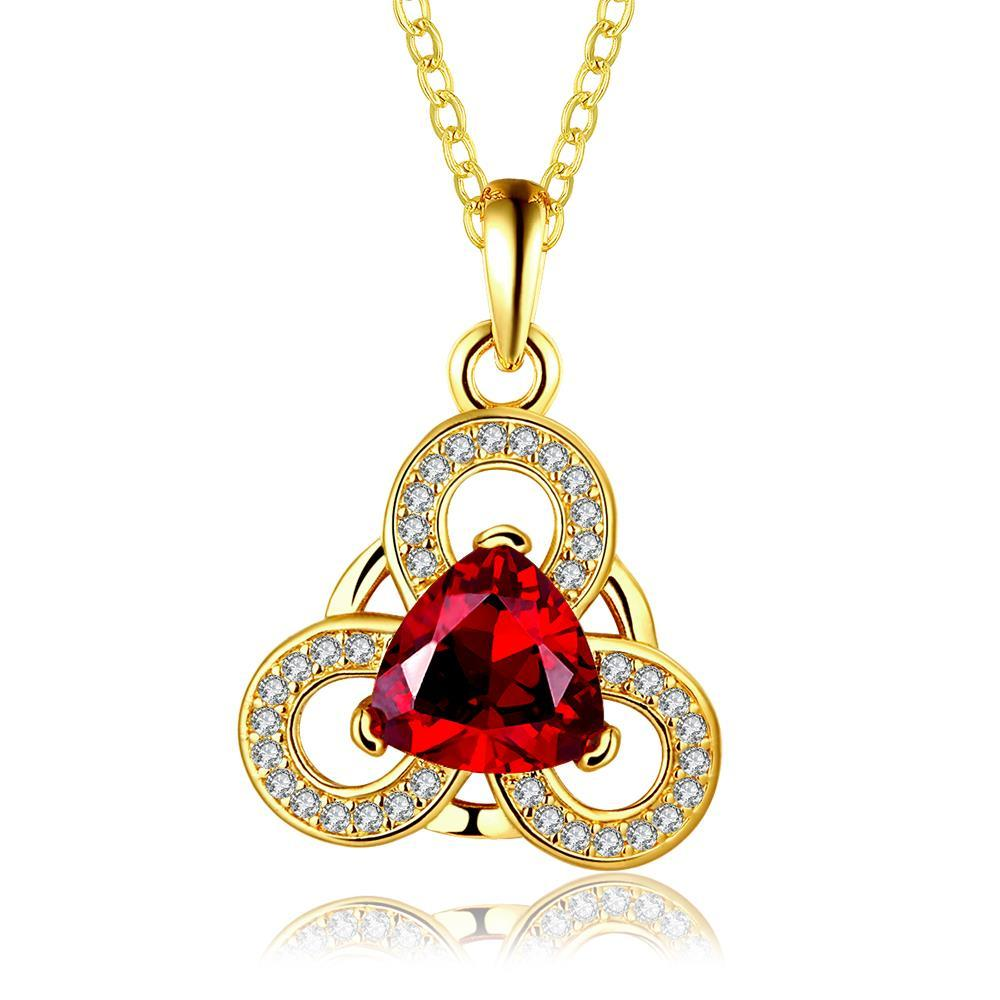 Vienna Jewelry Gold Plated Circular Clover Ruby Pendant Necklace - Thumbnail 0