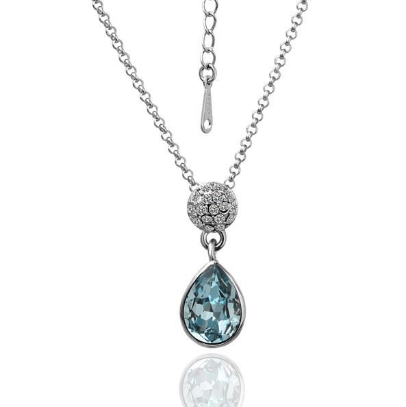 Vienna Jewelry White Gold Plated Saphire Gem Drop Down Necklace