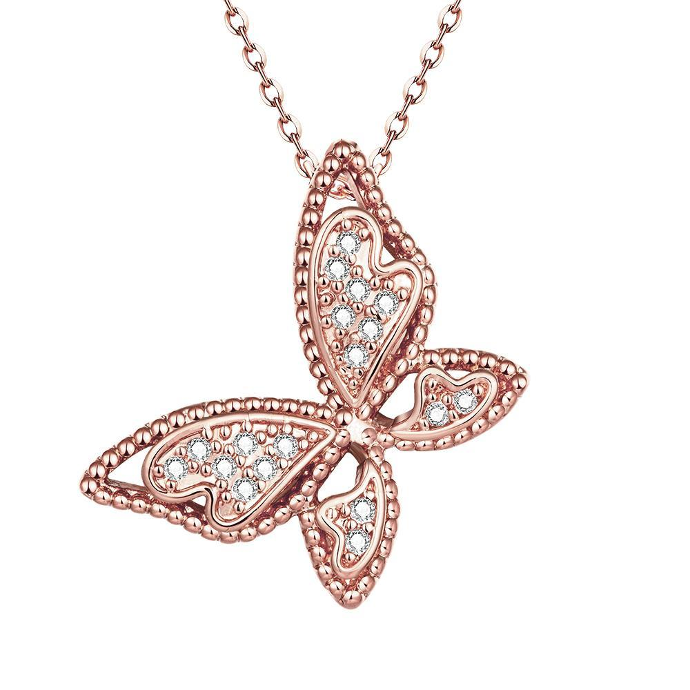 Vienna Jewelry Rose Gold Plated Large Butterfly Necklace