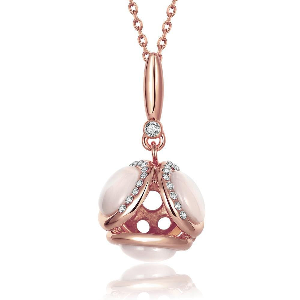 Vienna Jewelry Rose Gold Plated Duo-Ivory Drop Necklace