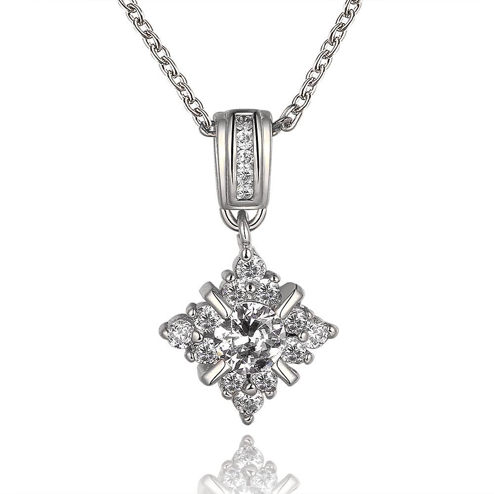 Vienna Jewelry White Gold Plated Crystal Snowflake Jewel Necklace