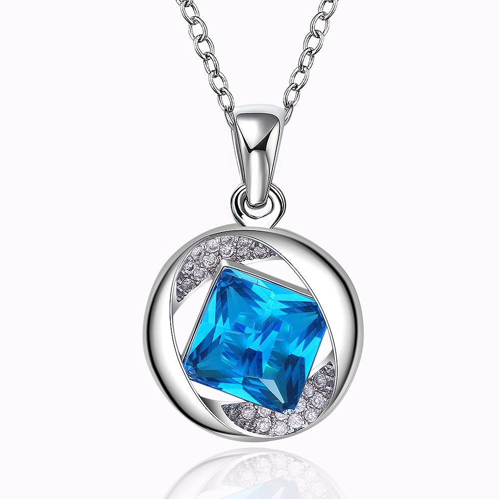 Vienna Jewelry White Gold Plated Spiral Sapphire Necklace