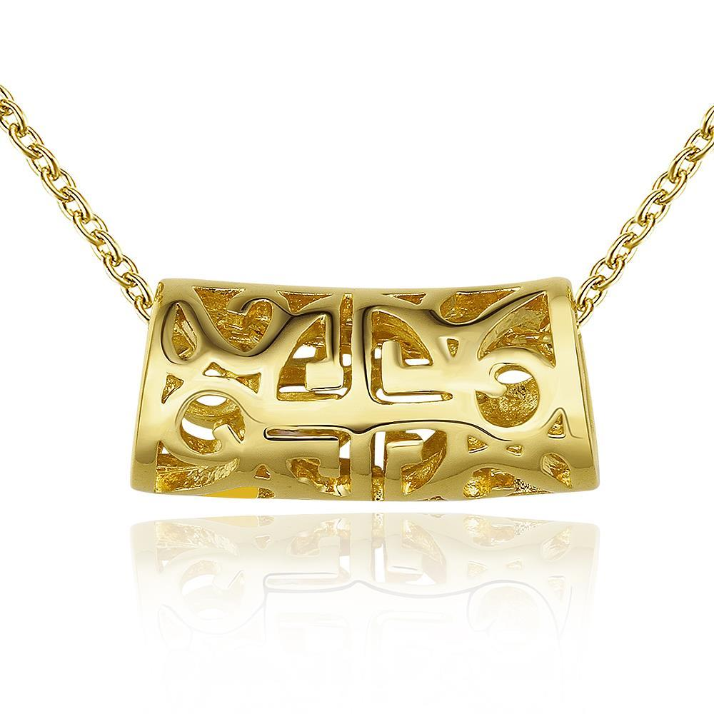 Vienna Jewelry Gold Plated Laser Cut Rolling Emblem Necklace