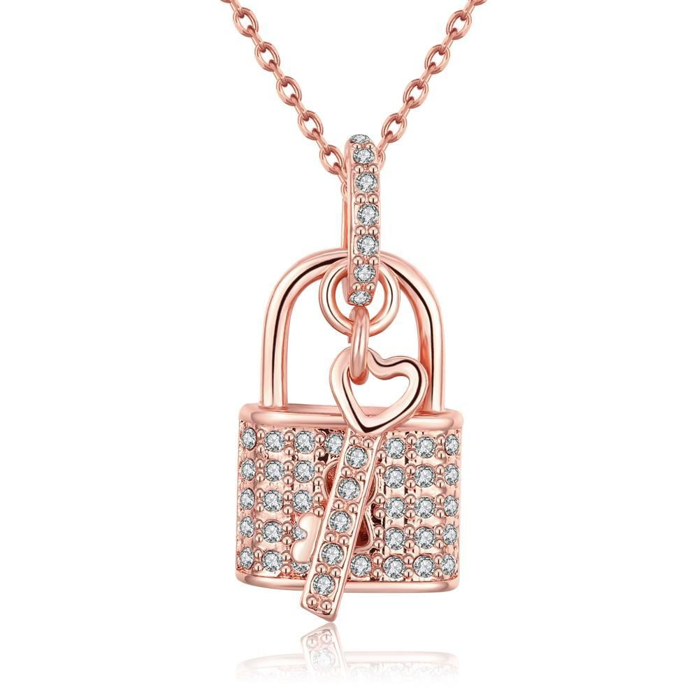 Vienna Jewelry 18K Rose Gold Plated Key to your HeartNecklace