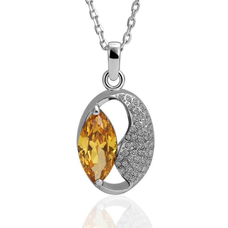 Vienna Jewelry White Gold Plated Moon Shaped Orange Citrine Necklace