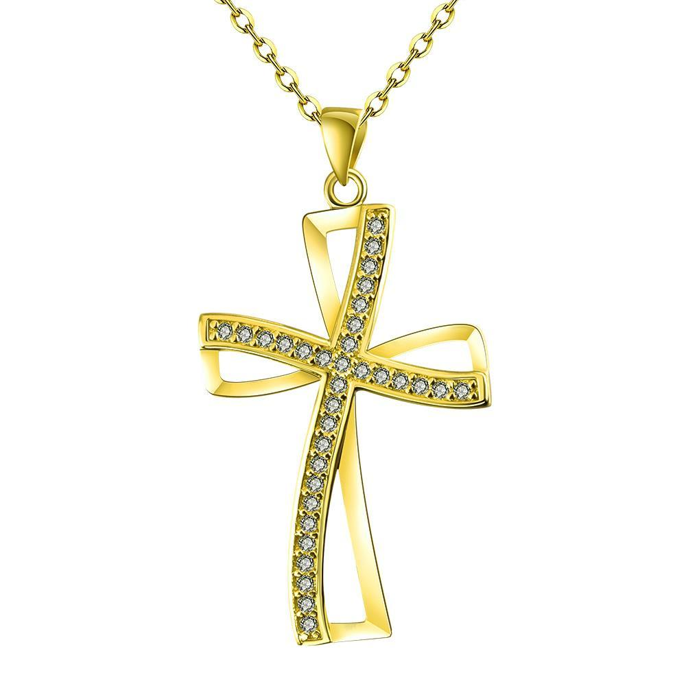 Vienna Jewelry Gold Plated Modern Twist to the Cross Necklace