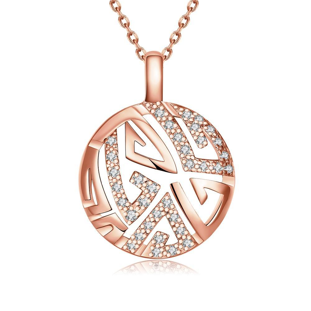 Vienna Jewelry Rose Gold Plated Oriental Emblem Necklace