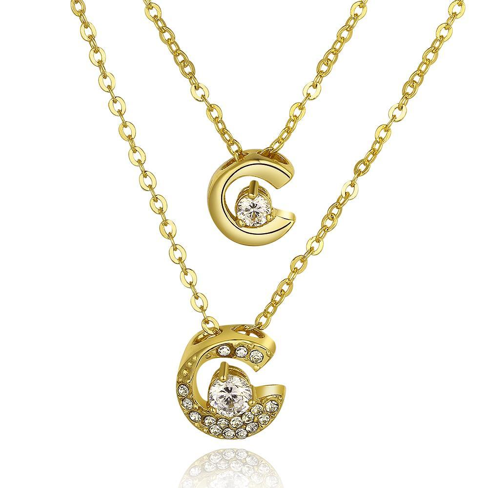 Vienna Jewelry Gold Plated Duo-Crescent Crystal Necklace
