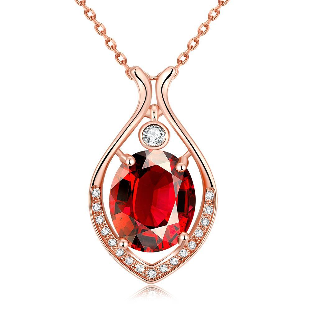 Vienna Jewelry Rose Gold Plated Classic New York Ruby Necklace