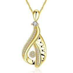 Vienna Jewelry Gold Plated Hollow Curved Classic Necklace - Thumbnail 0