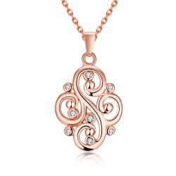 Vienna Jewelry Rose Gold Plated Curved Iron Necklace - Thumbnail 0