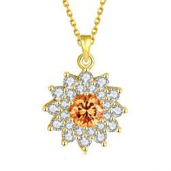 Vienna Jewelry Gold Plated Snowflake Citrine Necklace - Thumbnail 0
