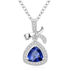Vienna Jewelry White Gold Plated Classic Triangular Necklace - Thumbnail 0