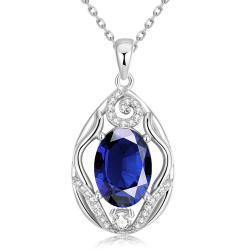 Vienna Jewelry White Gold Plated Classic London Saphire Necklace - Thumbnail 0
