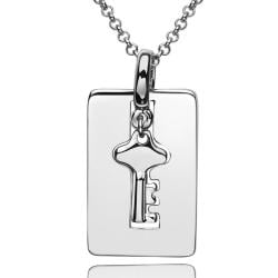 Vienna Jewelry White Gold Plated Doorkey Plate Emblem Necklace - Thumbnail 0