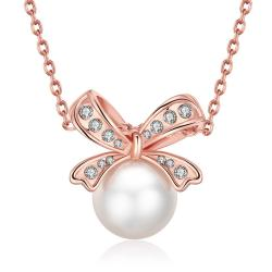 Vienna Jewelry 18K Rose Gold Plated Bow Pearled Necklace - Thumbnail 0