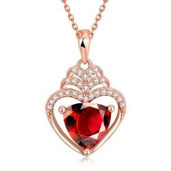 Vienna Jewelry Rose Gold Plated Hollow Heart with Ruby Gem Necklace - Thumbnail 0
