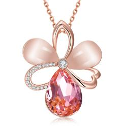 Vienna Jewelry Rose Gold Plated Coral Citrine Clover Necklace - Thumbnail 0