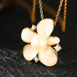 Vienna Jewelry Gold Plated Ivory Pearl Floral Necklace - Thumbnail 0