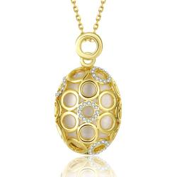 Vienna Jewelry Gold Plated Circular Swirl Pendant Necklace - Thumbnail 0