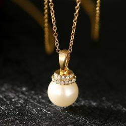 Vienna Jewelry Gold Plated Chandelier Pearl Drop Necklace - Thumbnail 0