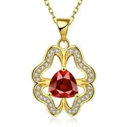 Vienna Jewelry Gold Plated Abstract Ruby Clover Necklace - Thumbnail 0