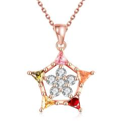Vienna Jewelry Rose Gold Pentagon Shaped Necklace - Thumbnail 0
