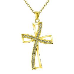 Vienna Jewelry Gold Plated Modern Twist to the Cross Necklace - Thumbnail 0
