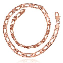 Vienna Jewelry Rose Gold Plated Petite Band Chain Necklace - Thumbnail 0