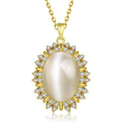 Vienna Jewelry Gold Plated Spiked Ivory Dangling Necklace - Thumbnail 0